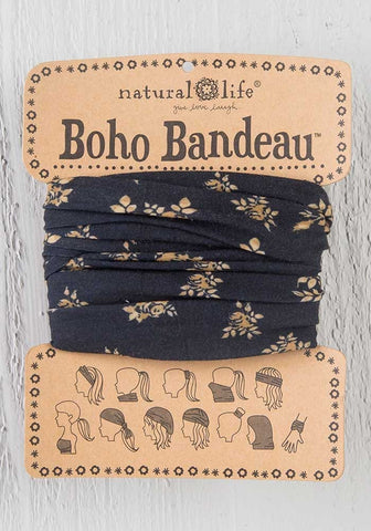 Black & Brown Floral Boho Bandeau