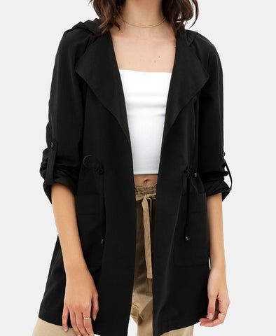 Oversized Hooded Trench Coat