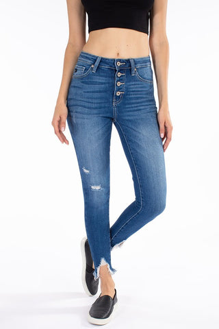 High Rise Button Fly Frayed Ankle Skinny- Kan Can