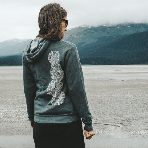 Green Sea Urchin Fleece Zip Up Hoodie