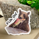 Bear Fishing Salmon Vinyl Sticker