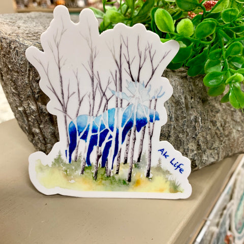 Blue Moose & Birch Trees Vinyl Sticker