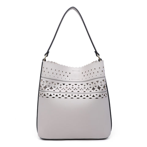 Light Grey Julia Scallop Hobo Bag