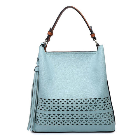 Light Blue Jenny Lasercut Hobo Bag