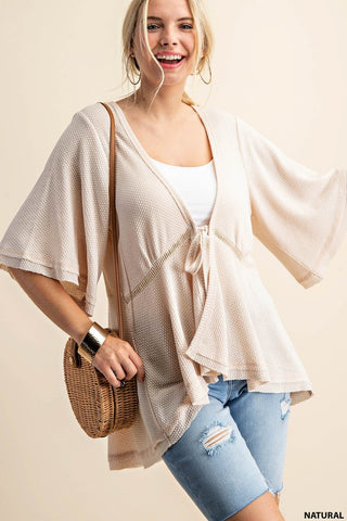 Natural Soft Thermal Front Tied Open Cardigan