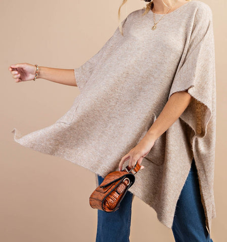 Round Neck Poncho with Pockets
