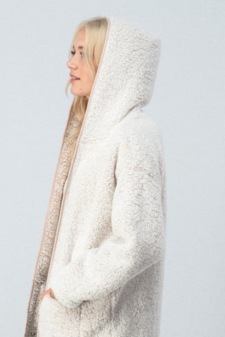 Sherpa Fleece Hooded Open Coat