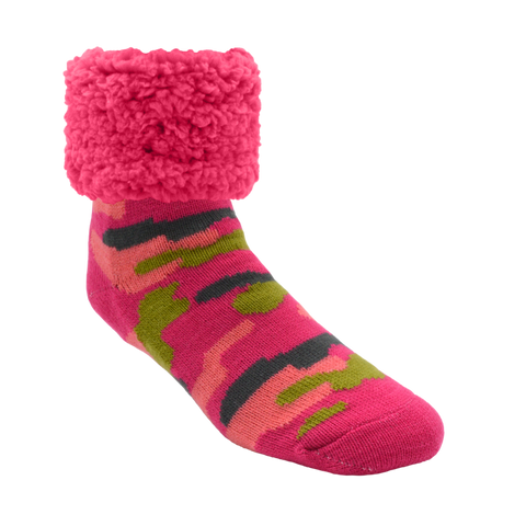 Adult Pink Camo Classic Slipper Sock