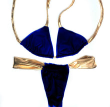 Load image into Gallery viewer, Adjustable Royal Blue & Gold Bikini Set