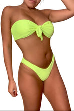 Load image into Gallery viewer, Neon Green Tie Front Bikini