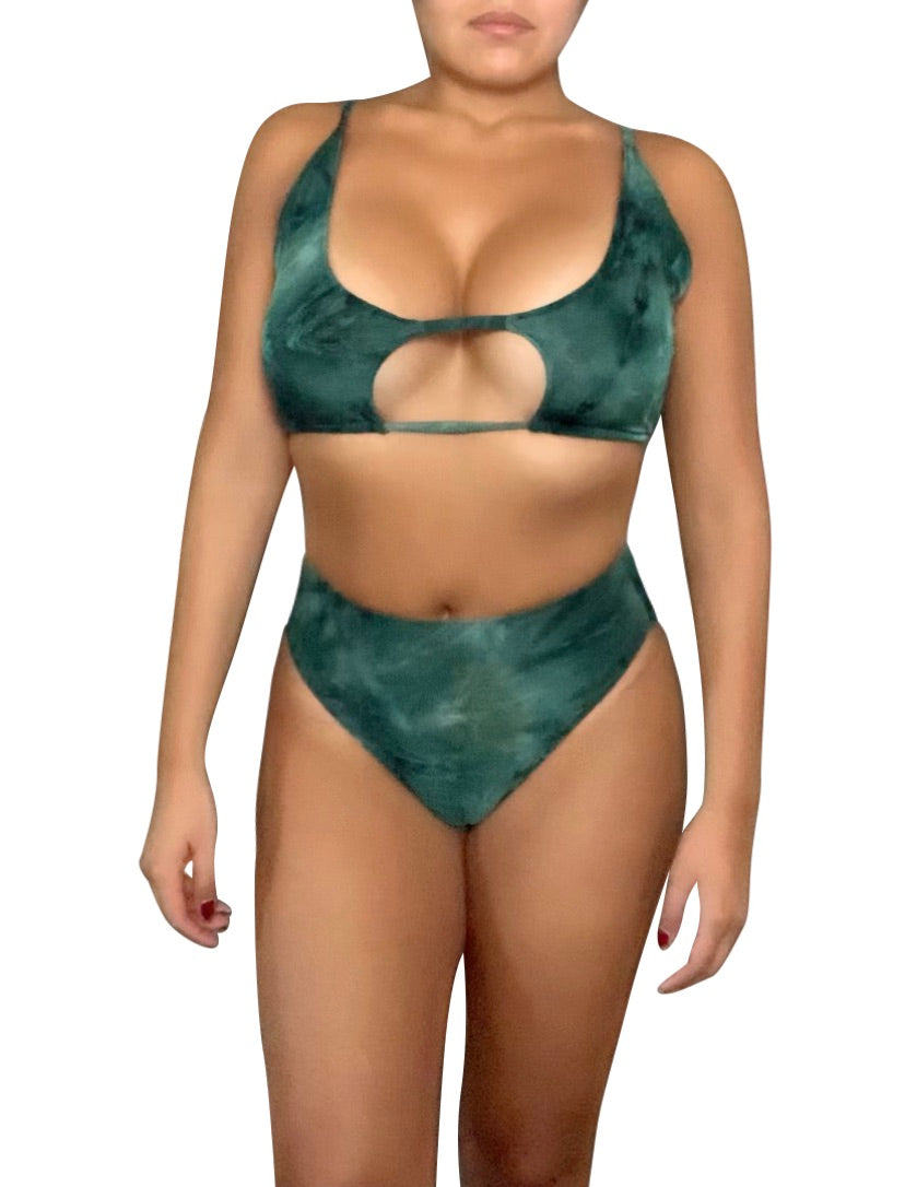 Green Tie Dye - High Waist Bikini Set