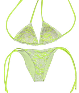 Neon Green Lace Bikini Set