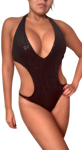 Black Sparkle Holo Dot Monokini