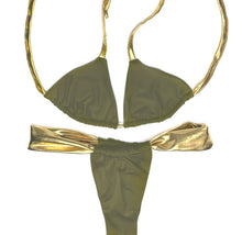 Load image into Gallery viewer, Adjustable Olive & Gold Bikini Set