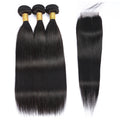 Malaysian Straight 100% Virgin Human Hair 3 Bundles with 4x4 Closure