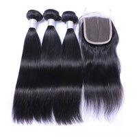 Ali Peruvian Straight 100% Virgin Human Hair 3 Bundles with 4x4 Closure