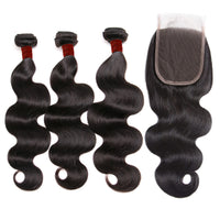 Ali Brazilian Body Wave 100% Virgin Human Hair 3 Bundles with 4x4 Closure