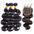 Ali Malaysian Body Wave 100% Virgin Human Hair 3 Bundles with 4x4 Closure