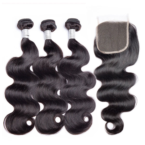 Ali Peruvian Body Wave 100% Virgin Human Hair 3 Bundles with 4x4 Closure