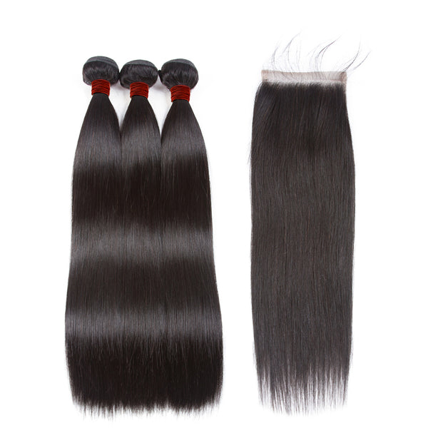 Ali Brazilian Straight 100% Virgin Human Hair 3 Bundles with 4x4 Closure