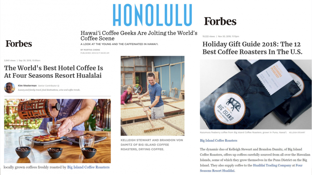 Our Hawaiian coffees mentioned in Forbes & Honolulu Magazine