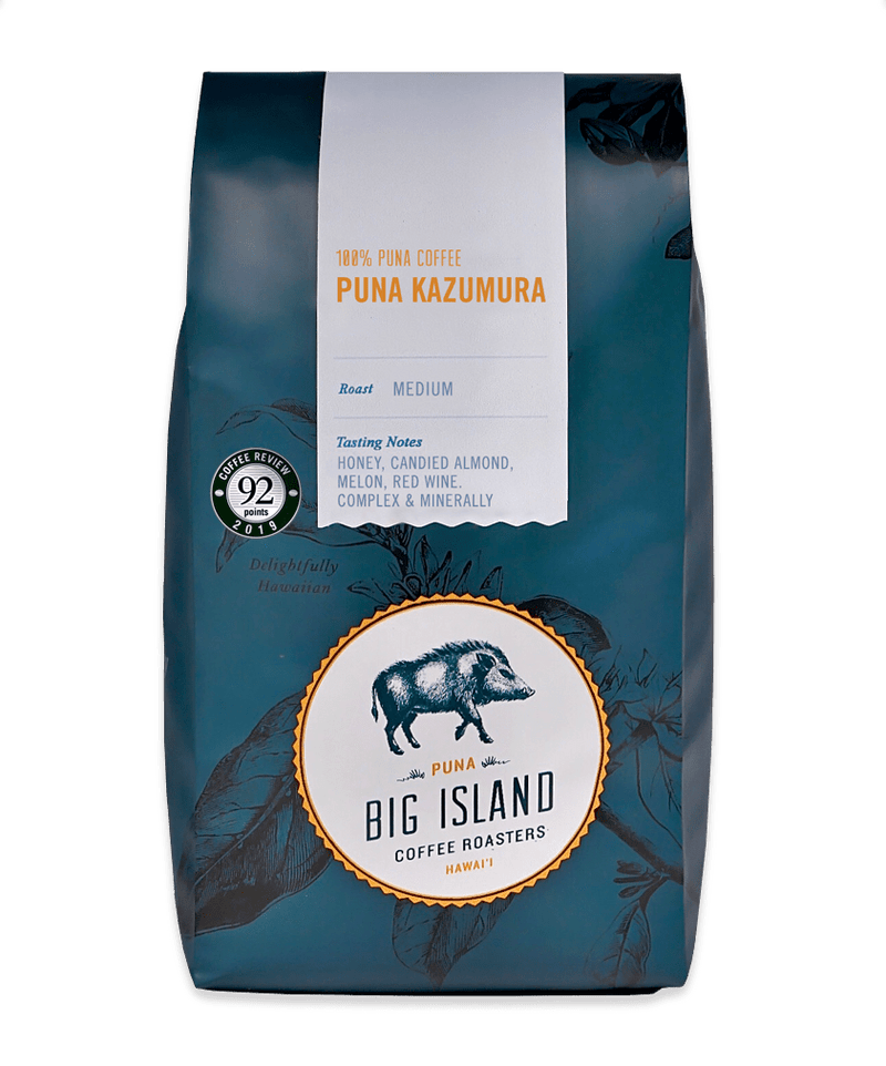 Puna Kazumura is 100% Puna Coffee.  Medium roast with Honey, Candied Almond, Melon, and Red Wine tasting notes