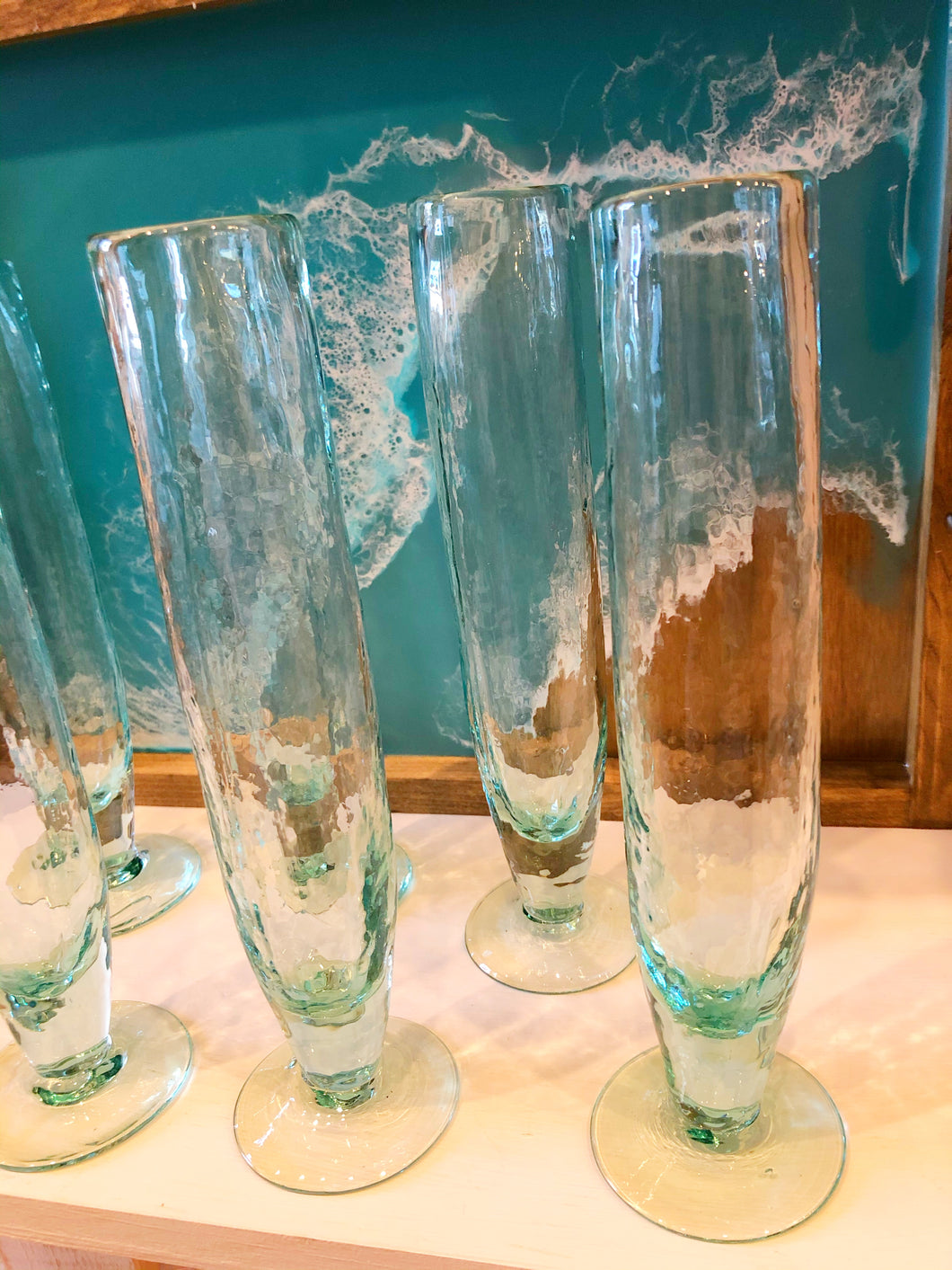 Recycled Handblown Glass Champagne Flutes