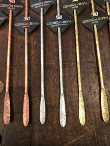 Hand Forged Cocktail Stirrers-Brass, Copper, Sterling Silver
