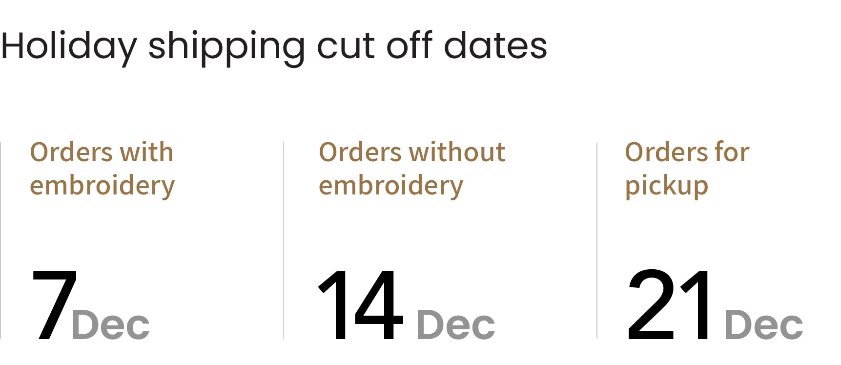 DTY shipping cut off dates