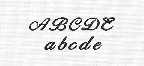 Script embroidery font