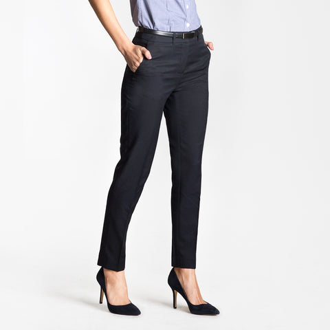 Cropped slim leg pant, French Navy