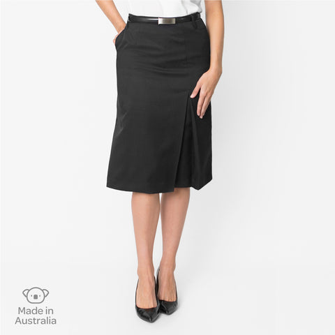 A-line skirt with box pleat, Charcoal
