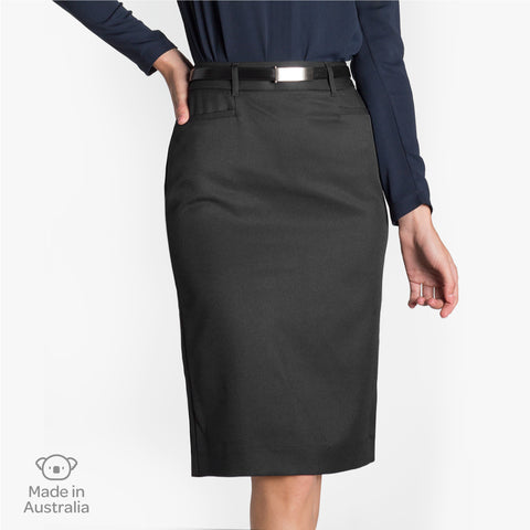Pencil skirt with pockets, Charcoal