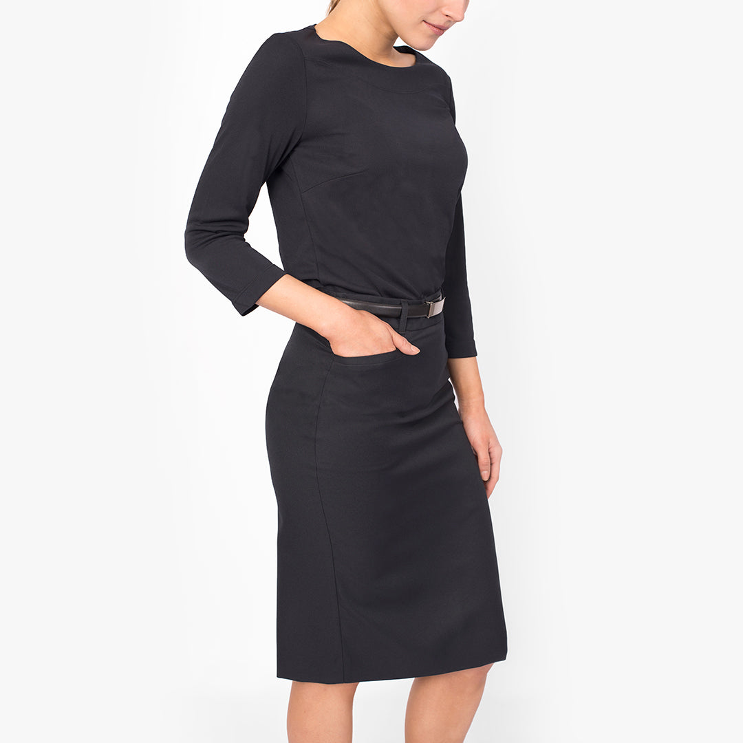 Pencil skirt with pockets, French Navy