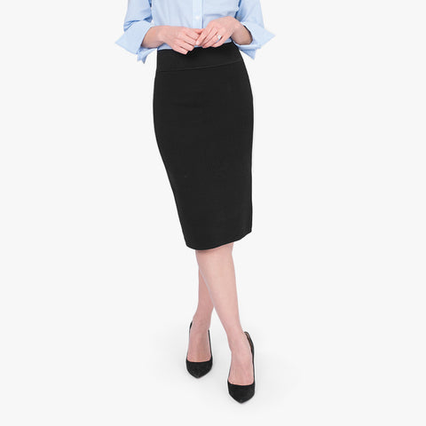 Milano knit pencil skirt, Black