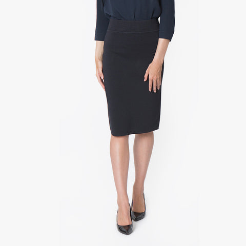 Milano knit pencil skirt, French Navy