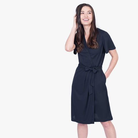 Knit wrap dress, Navy