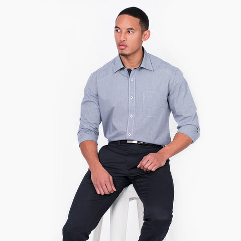Long sleeve slim fit mini check shirt, Navy