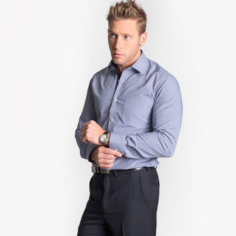 Long sleeve tailored fit mini check shirt, Navy