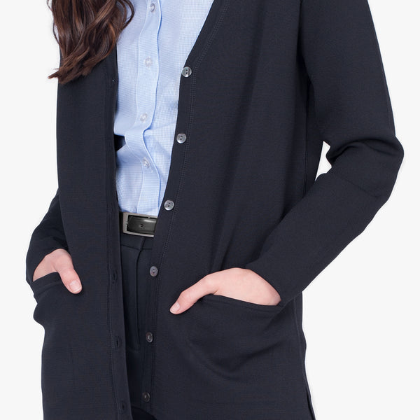 Milano knit button front cardigan, French Navy