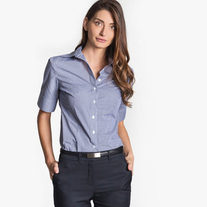 Short sleeve mini check shirt, Navy