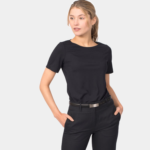 Short sleeve boatneck top, Navy