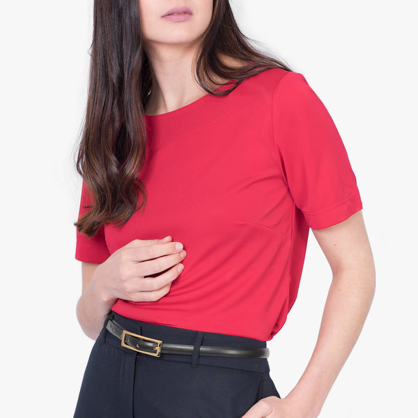 Short sleeve boatneck top, Ruby