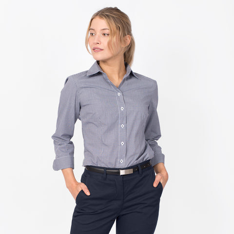 3/4 Sleeve mini check shirt, Navy