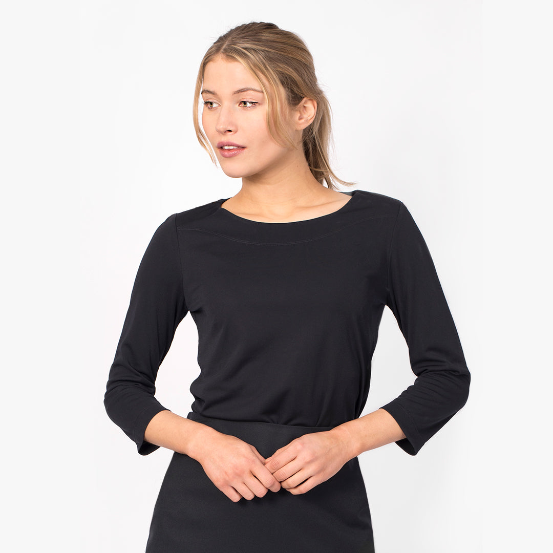 3/4 Sleeve boatneck top, Navy