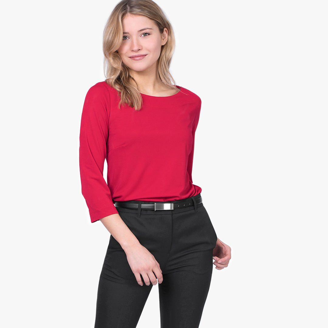 3/4 Sleeve boatneck top, Ruby