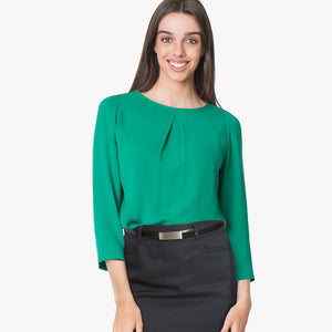 3/4 Sleeve pleat front blouse, Emerald
