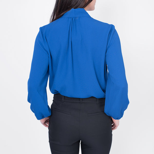 Neck tie blouse, Royal