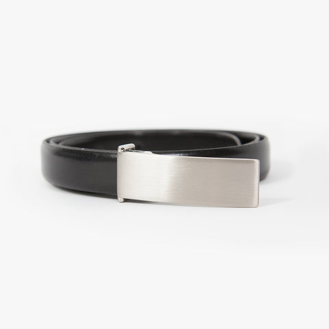 Slim leather belt, Black