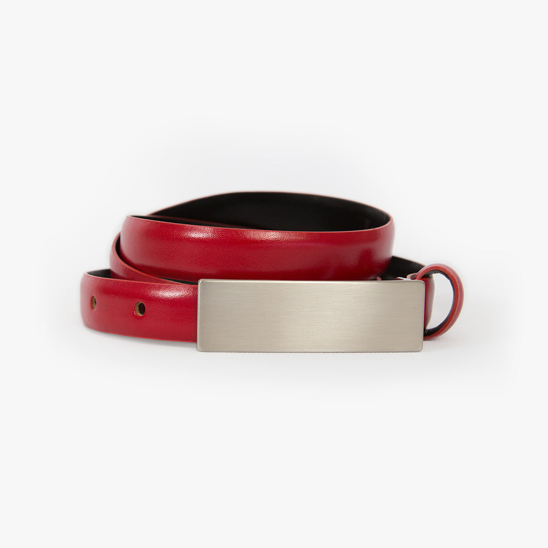 Slim leather belt, Ruby